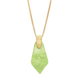 Geometric Diamond Shaped Lucite Statement Pendant Necklace and Hypo Allergenic Earring Set (Green Necklace Only)