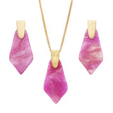 Geometric Diamond Shaped Lucite Statement Pendant Necklace and Hypo Allergenic Earring Set (Purple Necklace/Earring Set)