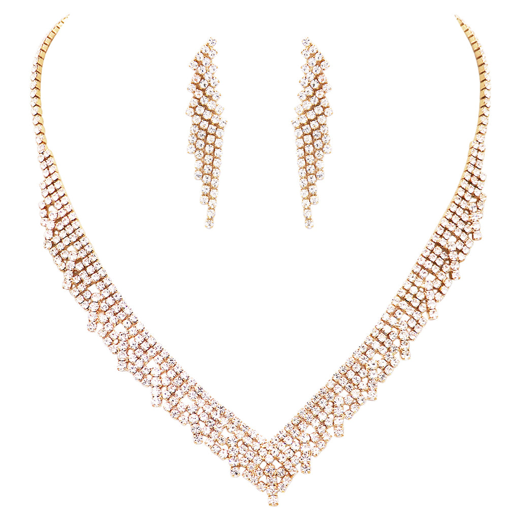 Bridal Crystal Rhinestone Collar V-Necklace and Hypoallergenic Earrings Set (Gold Tone)