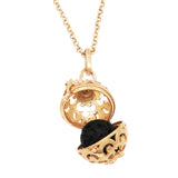 Lava Ball Aromatherapy Essential Oil Diffuser Locket Pendant Necklace (Gold Tone)