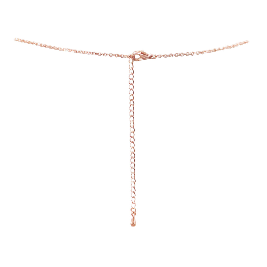 Crystal Rhinestone Triple Circle Infinity Rings Statement Pendant Necklace (Rose Gold Tone)