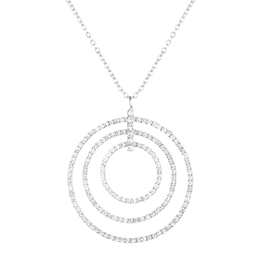 Crystal Rhinestone Triple Circle Infinity Rings Pendant Necklace (Silver Tone)