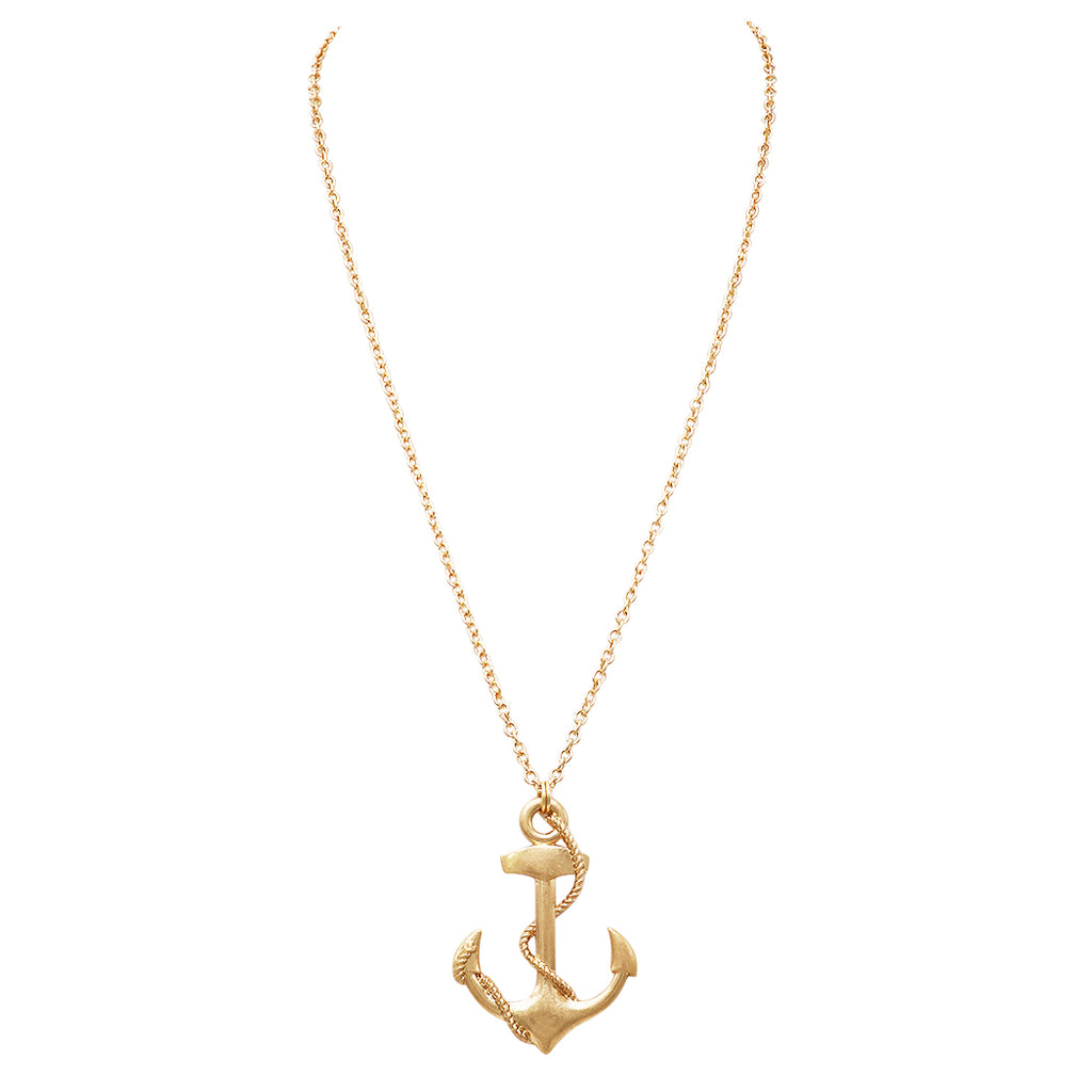 Fashion Jewelry Nautical Themed Big Anchor Charm Necklace (Gold Tone)