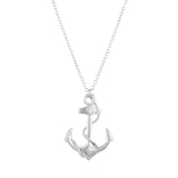 Fashion Jewelry Nautical Themed Big Anchor Charm Necklace (Silver Tone)