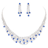 Vintage Style Blue Accented Crystal Rhinestone Statement Collar Necklace Earrings Set