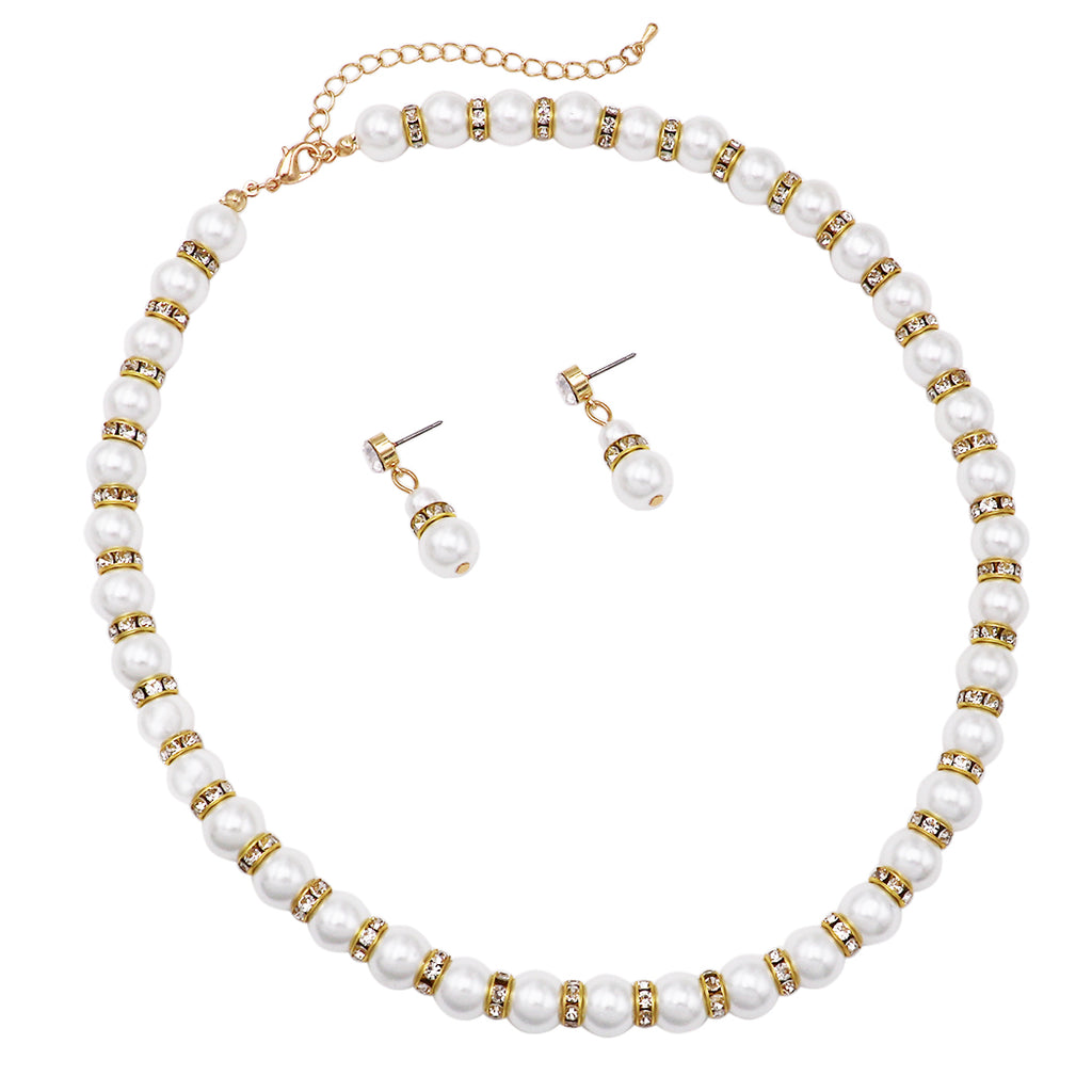 "Classic White Faux Pearl and Rhinestone Detail Necklace and Hypo Allergenic Earring Jewelry Set, 16""-19"" with 3"" Extender"