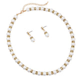 Classic White Faux Pearl and Rhinestone Detail Necklace and Hypo Allergenic Earring Jewelry Set, 16