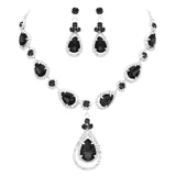 Crystal Rhinestone Teardrop Bridal Necklace and Earrings Set (Black)