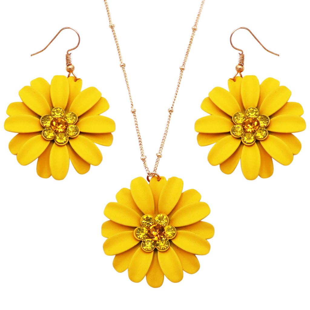"Women's Sunshine Yellow Daisy Flower Pendant Necklace and Earring Jewelry Gift Set, 16"" - 19"" with 3"" Extender"