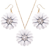 Women's White Daisy Flower Pendant Necklace and Earring Jewelry Set, 16