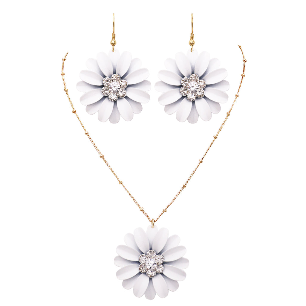 "Women's White Daisy Flower Pendant Necklace and Earring Jewelry Set, 16"" - 19"" with 3"" Extender"