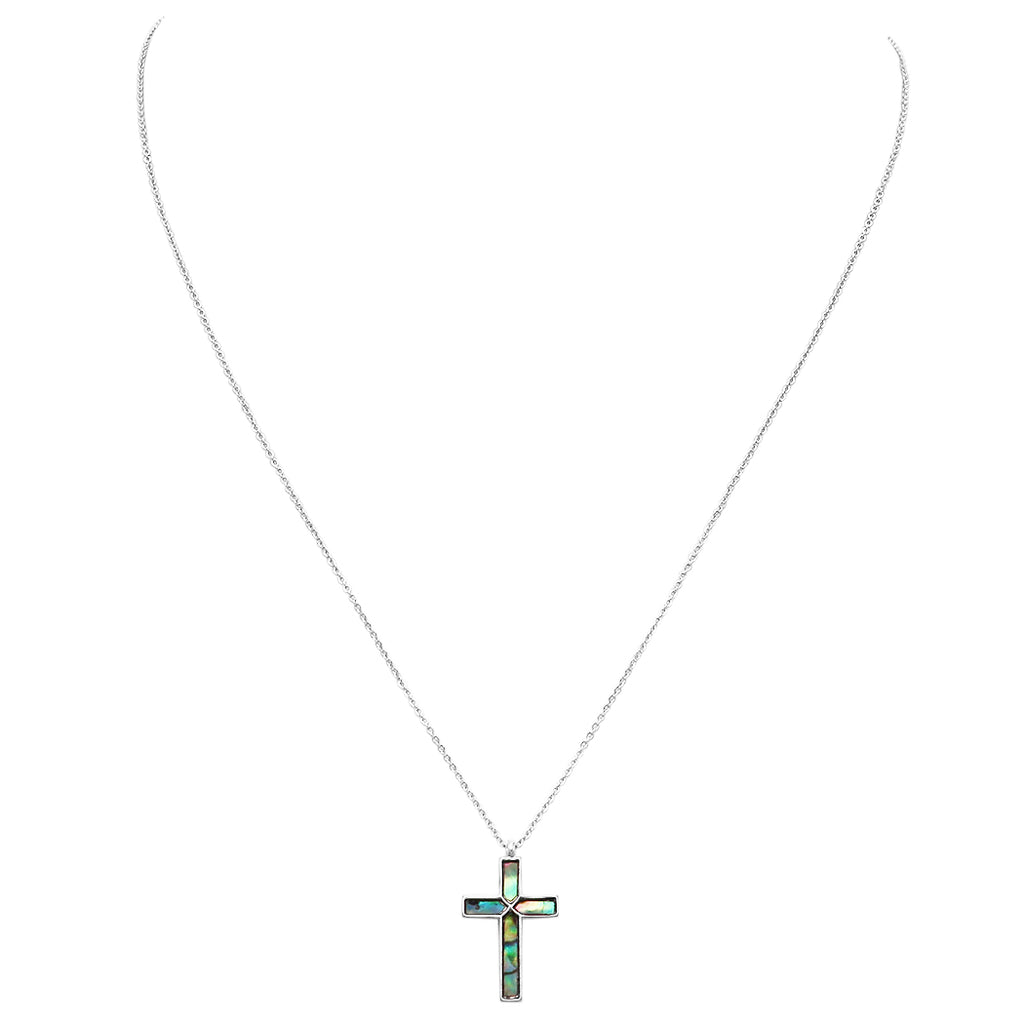 Stunning Abalone Shell Cross Pendant Necklace