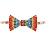 Sparkling Rainbow Bow Tie Choker Necklace