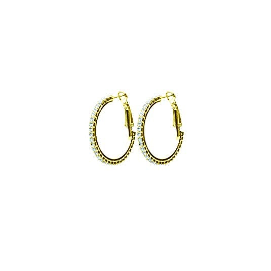 Hypo-allergenic Crystal Hoop Earrings (Gold, 20)