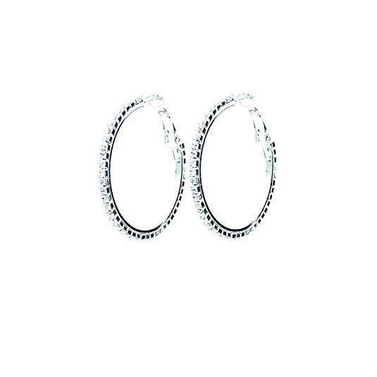 Hypo-allergenic Crystal Hoop Earrings (Silver, 35)