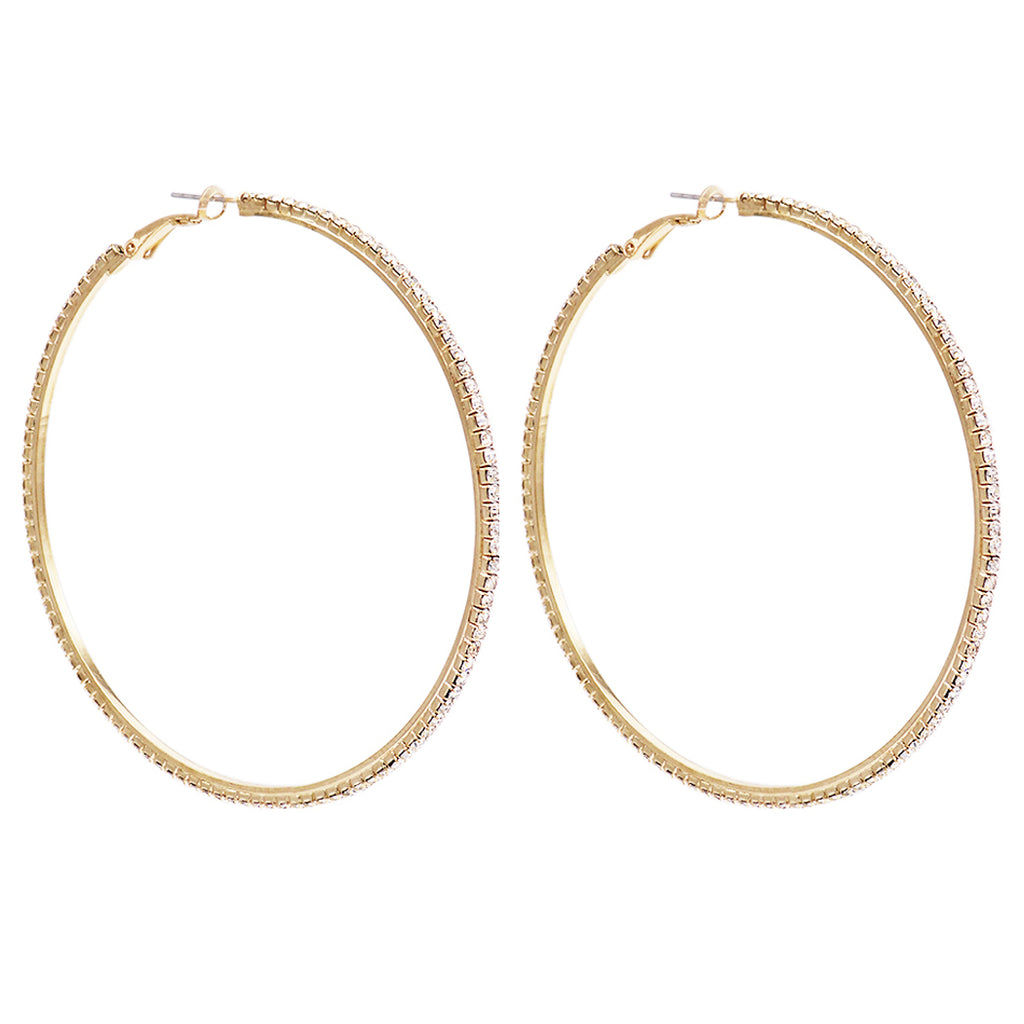 Women's Statement Fashion Trending Hypo-allergenic Gold Tone Crystal Hoop Earrings