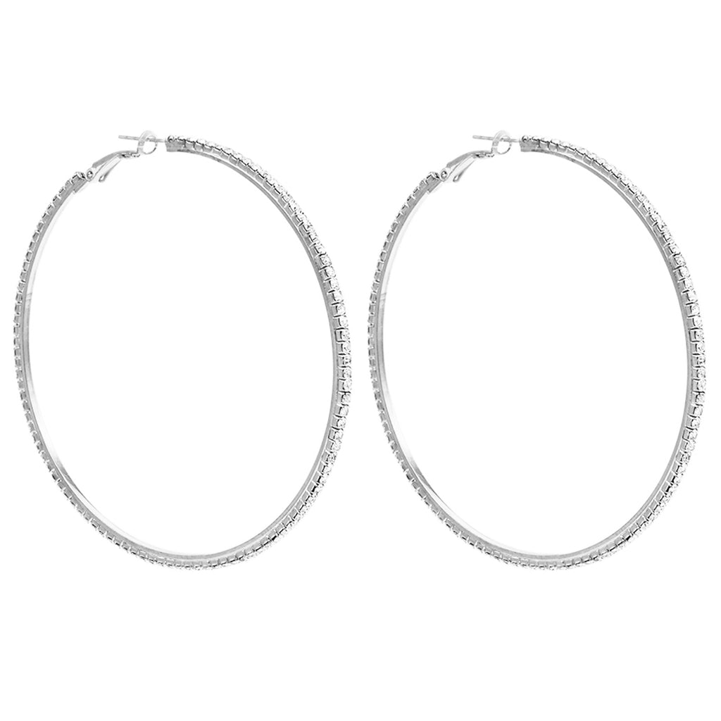 Hypo-allergenic Crystal Hoop Earrings (Silver, 73)