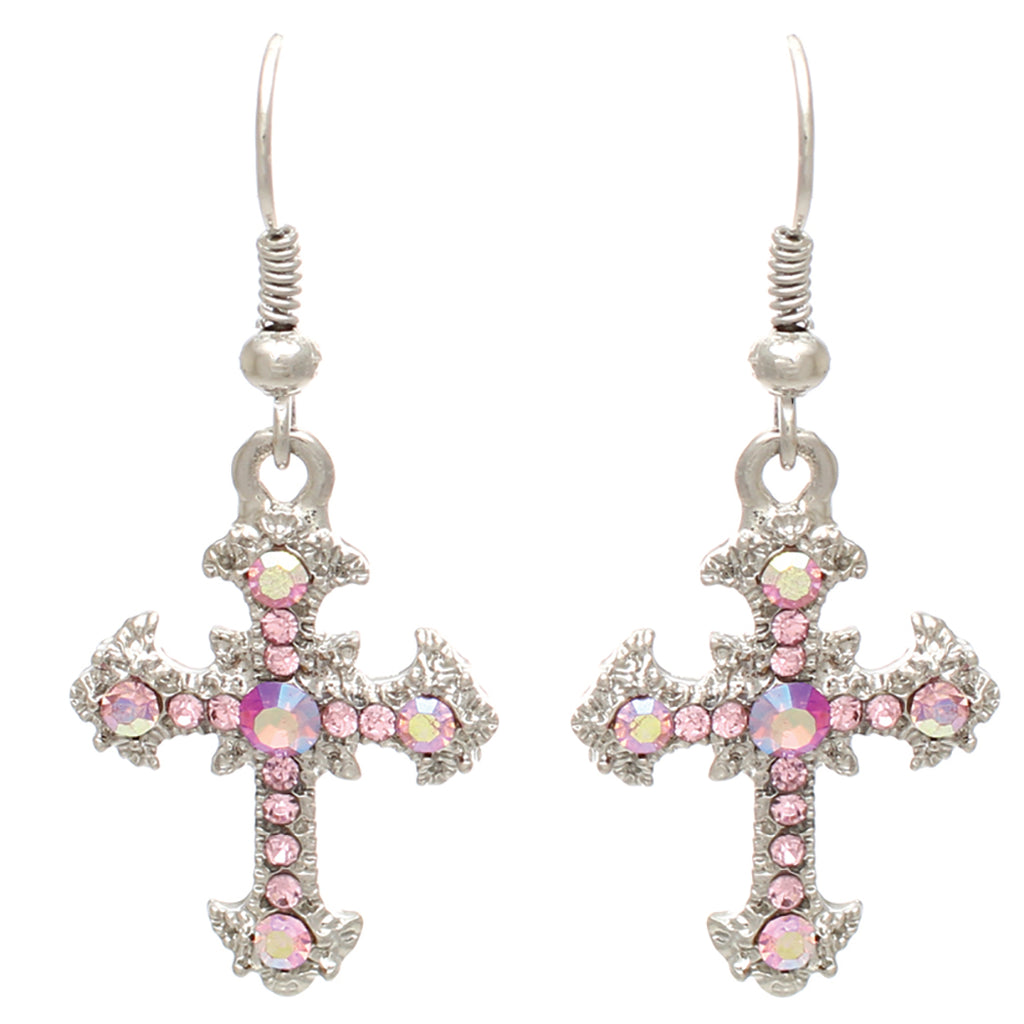 Crystal Rhinestone Religious Christian Cross Stylized Dangle Earrings (Light Rose)