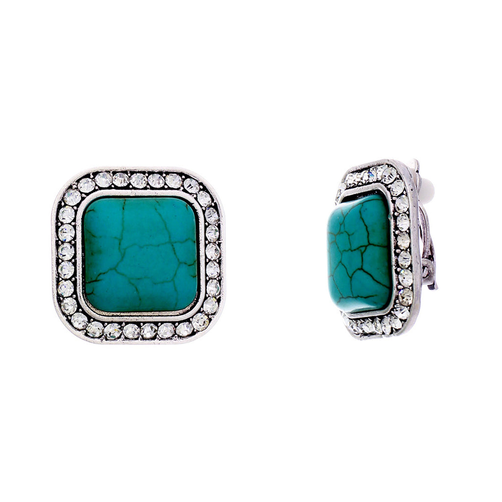 Women's Crystal Accent Square Turquoise Clip On Earrings