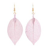 Stunning Natural Leaf Earrings Dipped in Metal (Pink)