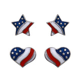 4th Of July USA Flag Star and Heart Earrings Set