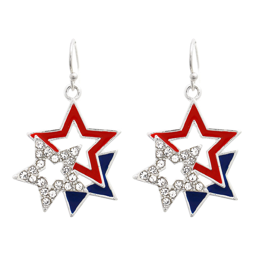4th of July Red White and Blue USA Stars Dangle Rhinestone Earrings Set