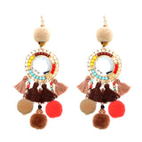 Pom Pom and Tassel Statement Drop Earrings (Brown)