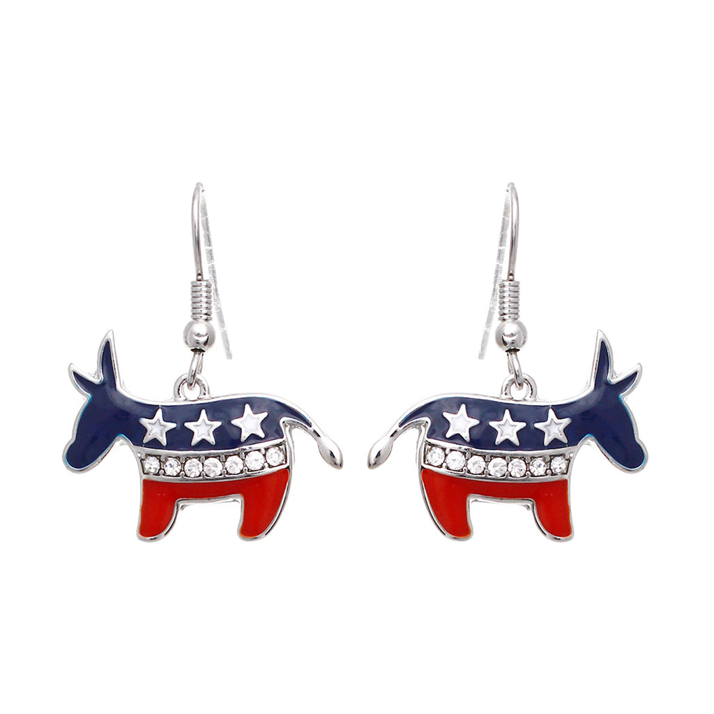 Democrat Donkey American Red White and Blue Flag Dangle Earrings (Donkey with Crystals)