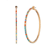 Hypoallergenic Rainbow Crystal Rhinestone Hoop Earrings (Gold Tone 60mm)