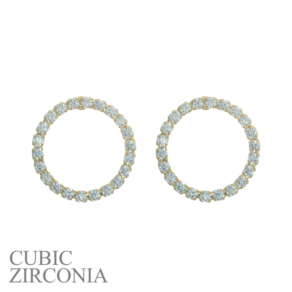 Premium Hypoallergenic Cubic Zirconia Little Hoop Earrings (Gold Tone)