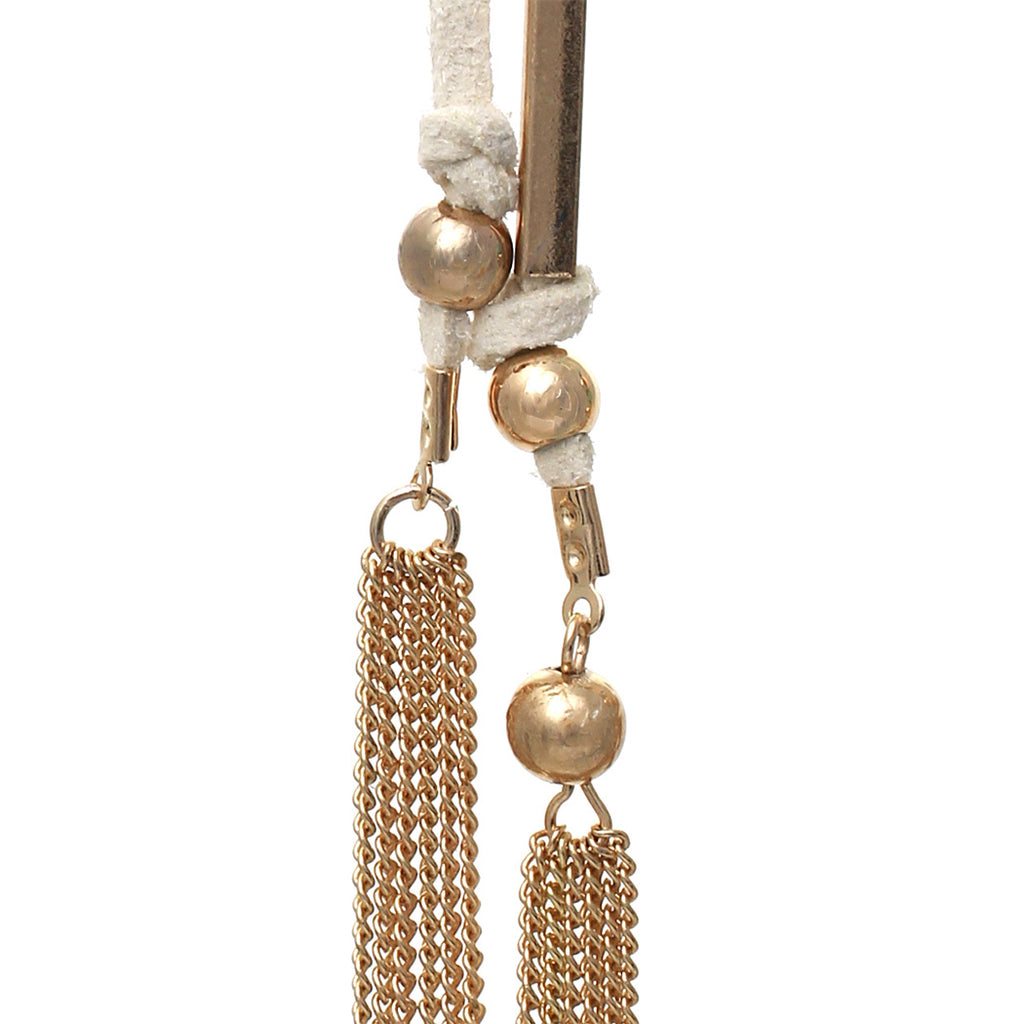 Suede and Chain Fringe Tassel Long Dangle Earrings (Cream)
