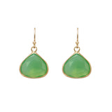 Crystal Teardrop Dangle Earrings (Green)