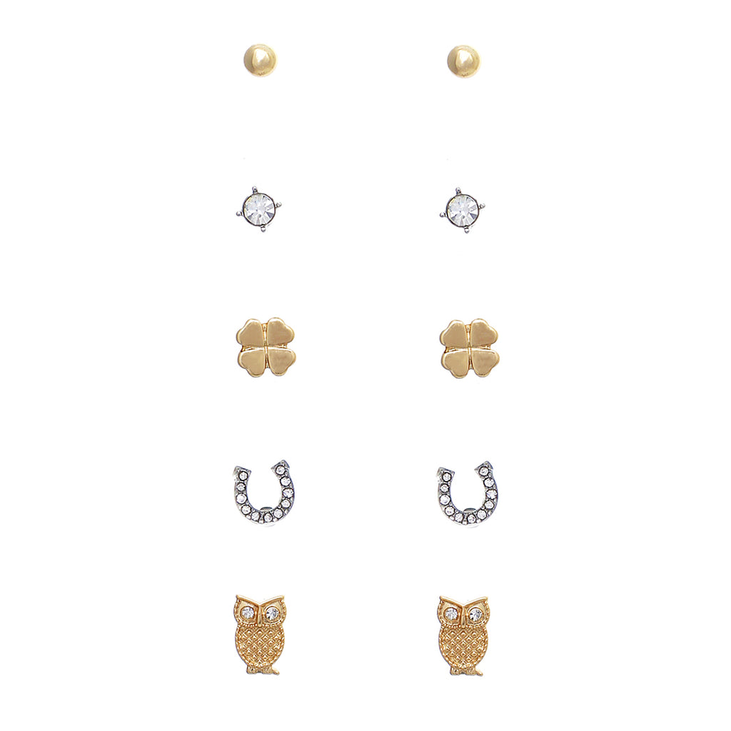 5 Pairs Hypoallergenic Trendy Small Stud Earring Set (Lucky Charms)