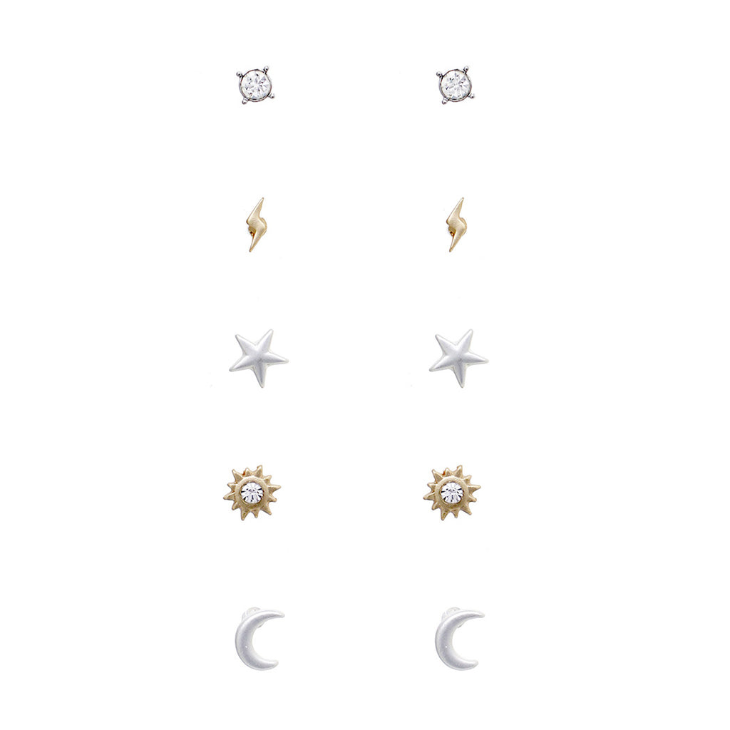 Minimalist 5 pairs Two Tone Celestial Trendy Small Stud Earring Jewelry Set
