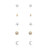 5 pairs Trendy Small Stud Earring Jewelry Set (Celestial)
