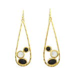 Large Teardrop Dangle Earrings with Multi-color Glass Gemstones (Black/White)