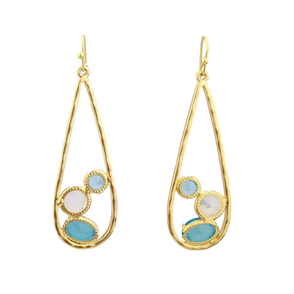 Large Teardrop Dangle Earrings with Multi-color Glass Gemstones (Aqua/White)