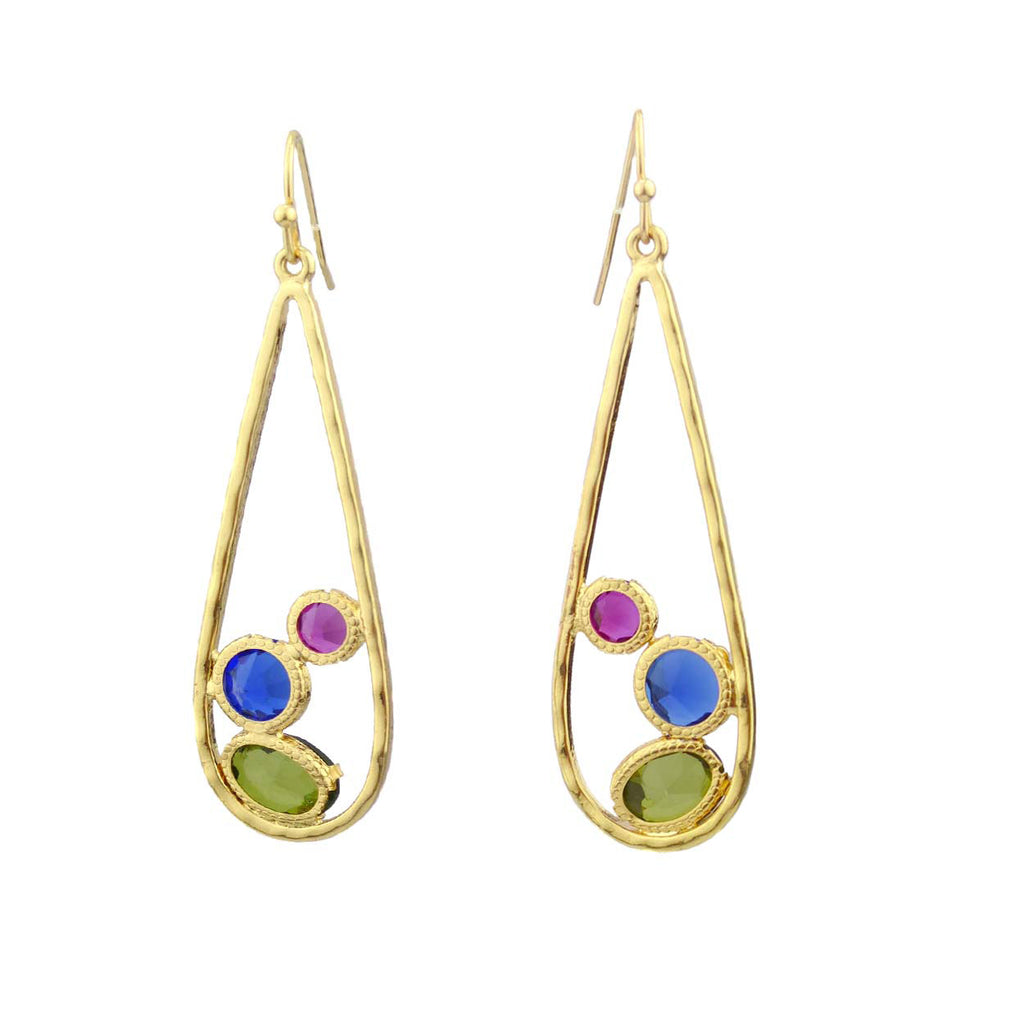 Large Teardrop Dangle Earrings with Multi-color Glass Gemstones (Blue/Green/Magenta)