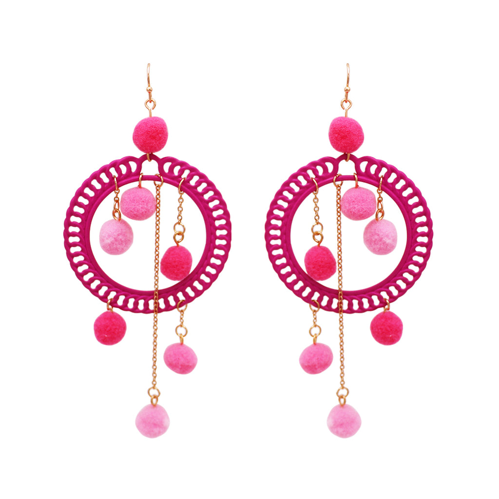 Women's Fuzzy Pom Pom Hoop Statement Earrings (Pink) Long Length 4.5""