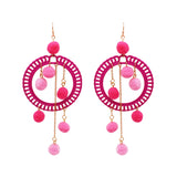 Women's Fuzzy Pom Pom Hoop Statement Earrings (Pink) Long Length 4.5