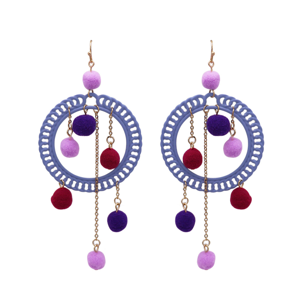 Fuzzy Pom Pom Hoop Statement Earrings (Purple)