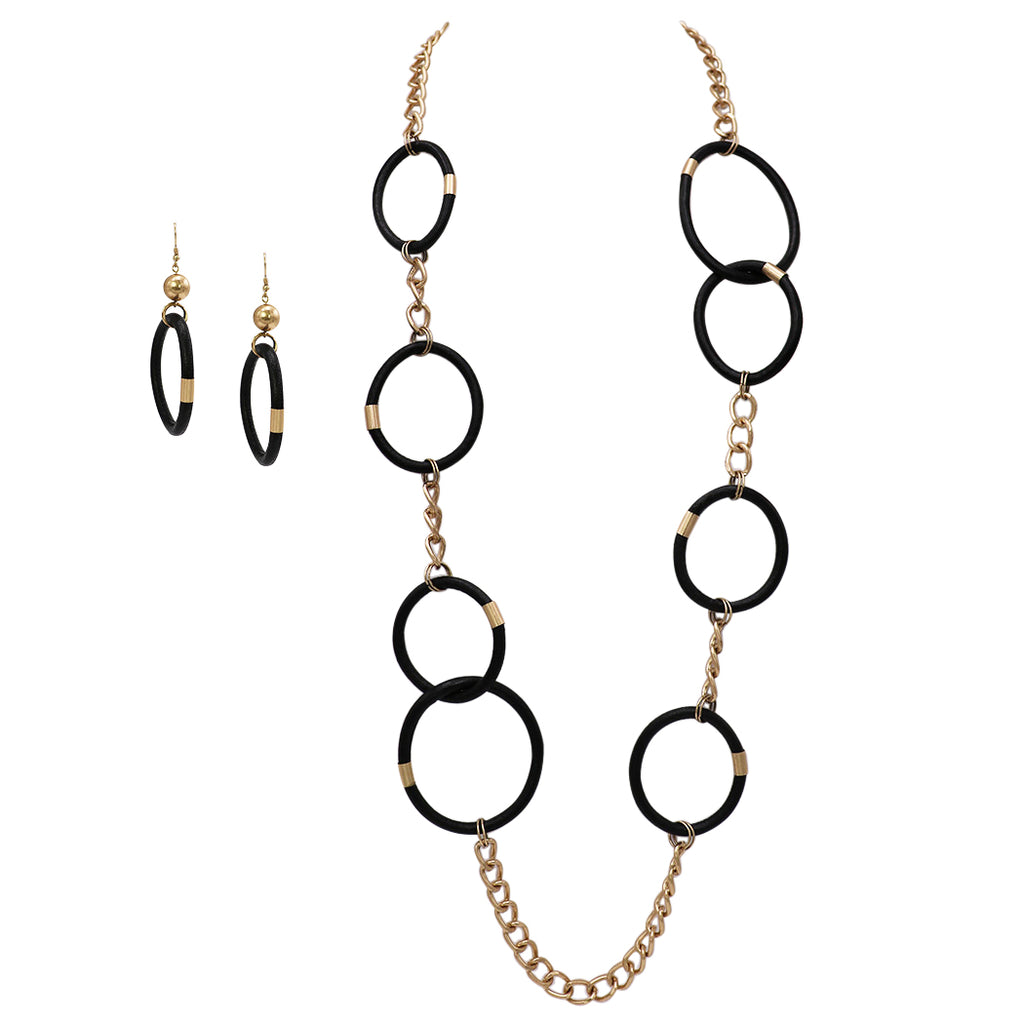 Black Simulated Leather Dangle Hoop Earrings and Long Necklace Jewelry Gift Set