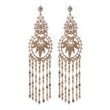 Vintage Floral Design Long Statement Earrings Hypoallergenic