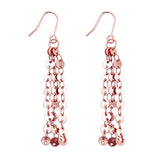 Fancy Chain Fringe Drop Earrings (Rose Gold Color)