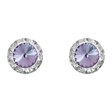 Halo Crystal 11mm Rondelle Stud Earrings (Light Amythest)