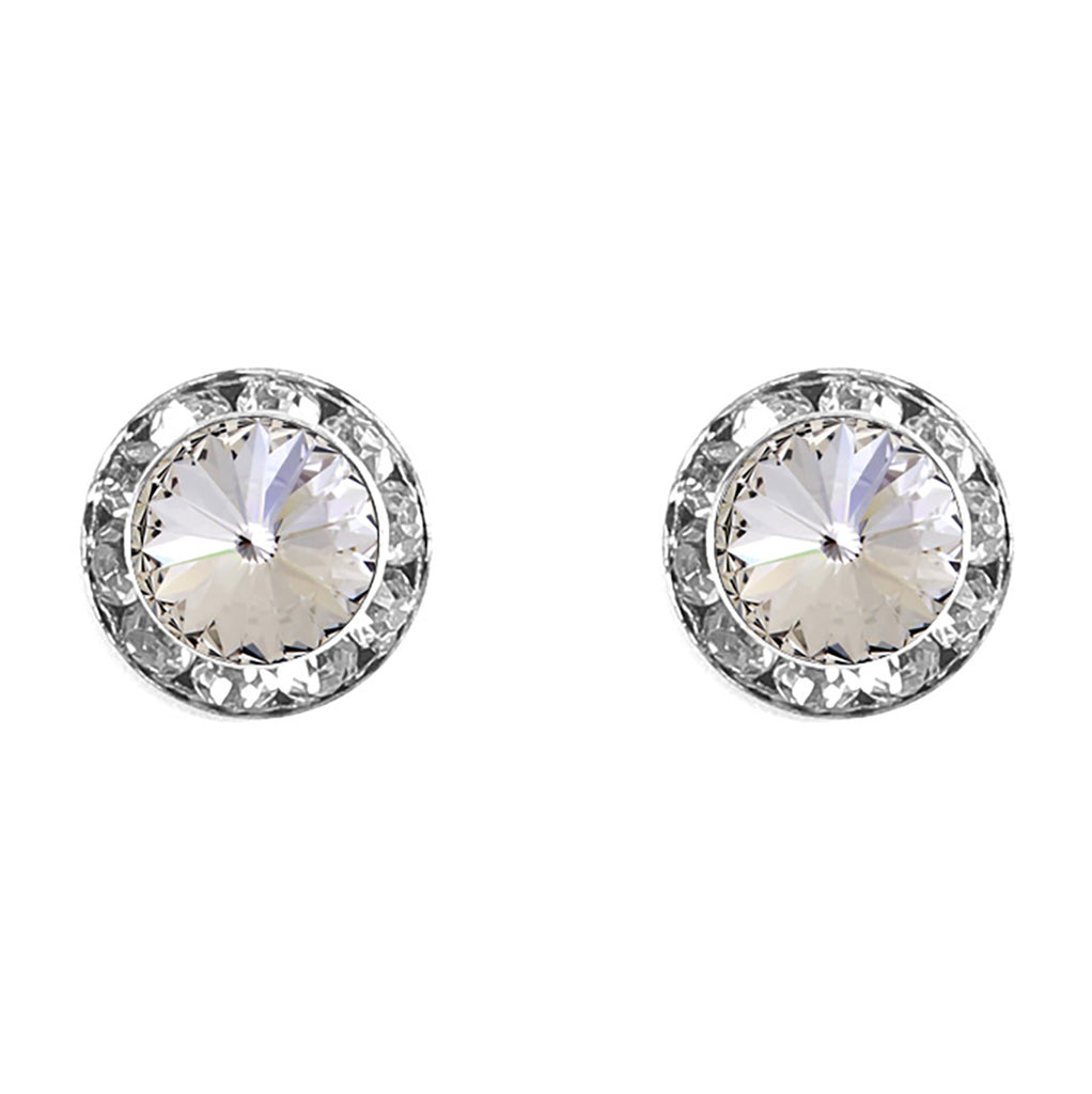 Halo Crystal 13mm Rondelle Stud Earrings (Clear and Silver)