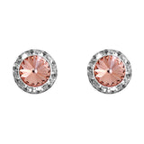 Halo Crystal 13mm Rondelle Stud Earrings (Peach and Silver)
