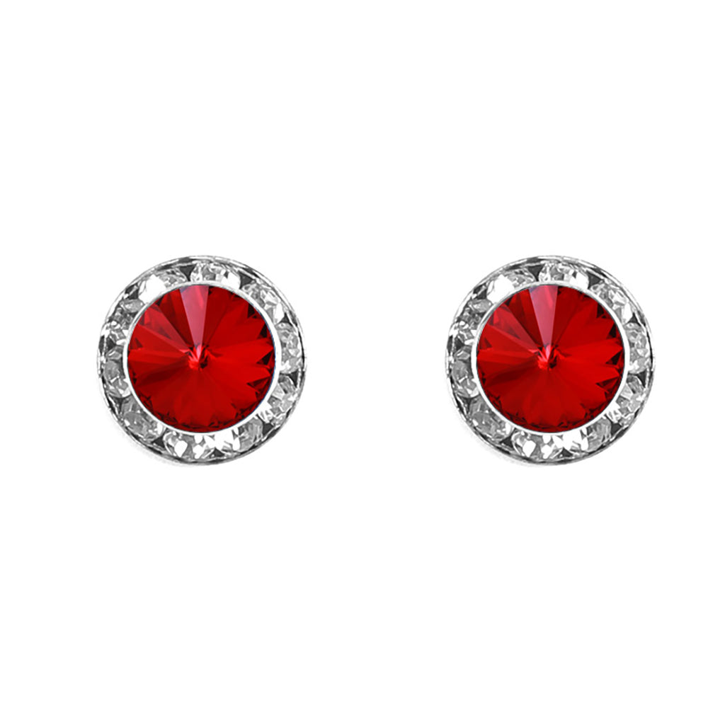 Halo Crystal 13mm Rondelle Stud Earrings (Red and Silver)