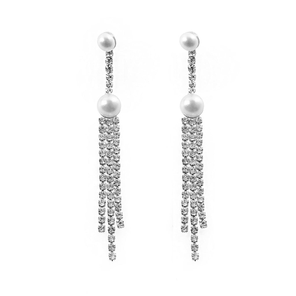 Long Crystal Rhinestone and Faux Pearl Dangle Vertical Earrings (Silver)