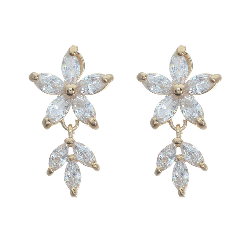 Elegant Crystal Flower Dangle Earrings (Gold)